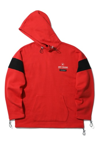 Fivecm red Not Found panelled hoodie 70DB1AAE94094CGS_1