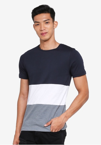 Jack & Jones white and navy Short Sleeve Tee 52861AAB61A127GS_1