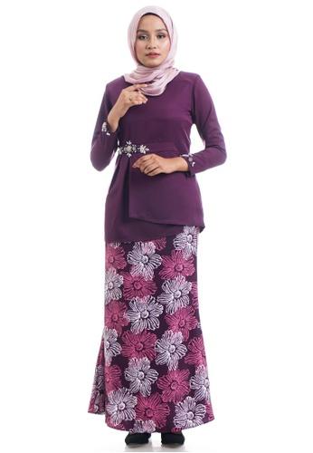 Ashura purple Dalarisa Kurung Peplum With Floral Printed Skirt F6720AA1C0FC25GS_1