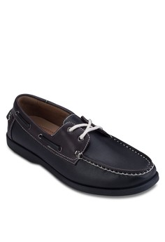 Contrast Faux Leather Boat Shoes