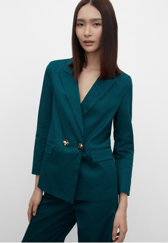 Pomelo green Sustainable Double Button Fitted Blazer - Green A9FB5AA9DB866FGS_1