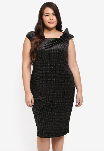 Goddiva black Plus Size Glitter Velvet Midi Dress With Bow Detail 329C6AAC07DE4EGS_1
