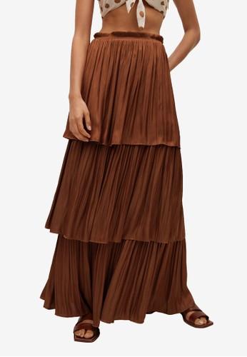 Mango orange Ruffled Flowed Skirt C3BABAA3C9C6CEGS_1