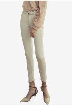 d76ac9addb2 Eyescream white Slim Fit Pants With Waist Belt 26B6EAAB287E5EGS_1