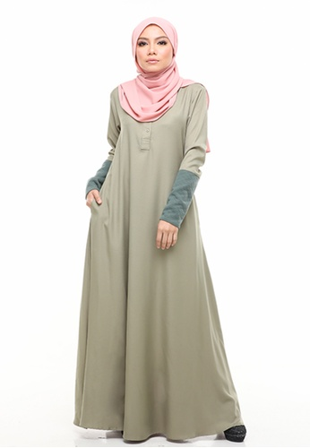 Imaan Boutique green Nassimo Jubah Dress Olive 8D7D6AA385F00DGS_1