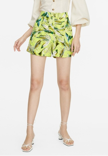 Pomelo yellow Leaf Print High Waisted Shorts - Yellow F979AAA3480CEDGS_1
