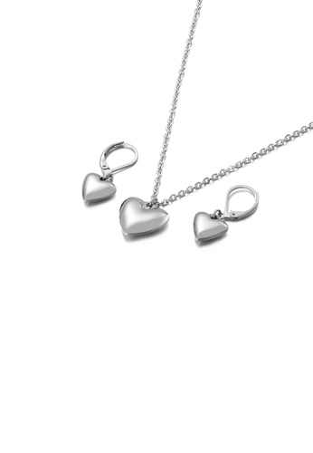Glamorousky silver Simple and Romantic Heart-shaped 316L Stainless Steel Necklace and Earrings Set C68E2AC7E3A391GS_1
