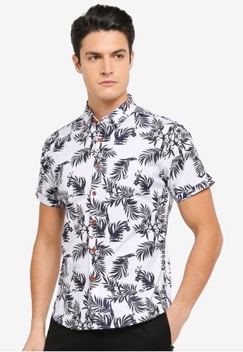 JAXON white and blue and multi Aloha Short Sleeves Shirt 4C8BDAABCCA439GS_1