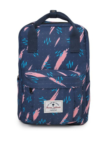 London Berry by HUER navy Cavalo Printed Large Backpack ED122AC9CC88DCGS_1