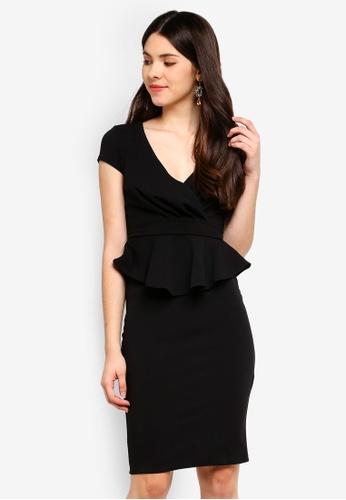 Goddiva black Peplum Short Sleeve Midi Dress A204BAA3D16170GS_1
