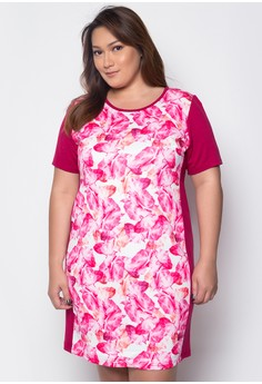 Plus Size Shift Dress with Panel Detail