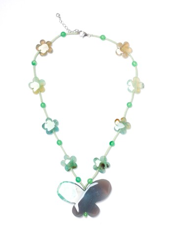 Celline Silver green Green Agate Butterfly Necklace 1A936ACFC30F63GS_1