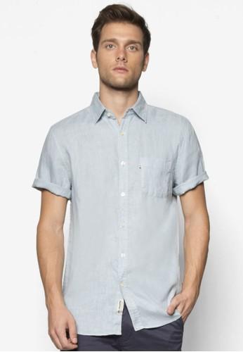 Hamptonesprit台灣outlet 亞麻短袖襯衫, 服飾, 服飾