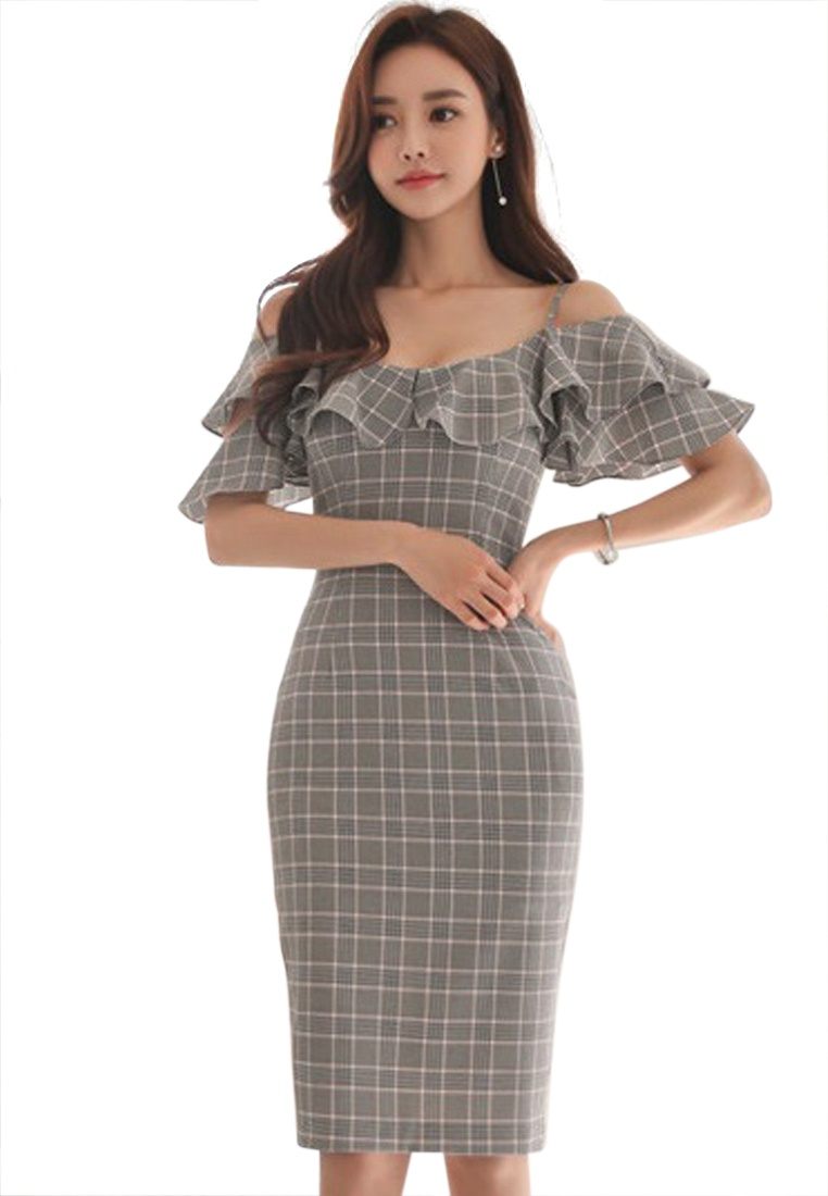 Grey Sunnydaysweety grey Piece Spaghetti New Check 2018 A051631 Dress One Pattern strap 7qwvRx5T