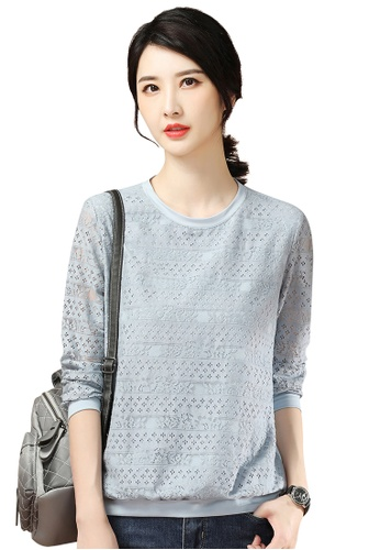 A-IN GIRLS blue Fashion Hollow Lace Blouse D9CC4AAD1AF93AGS_1