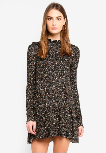 OVS black Stretch Viscose Dress With All-Over Print F3278AA4B91AFCGS_1