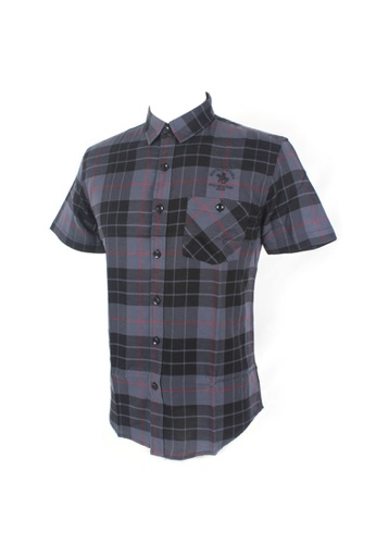 Santa Barbara Polo & Racquet Club black and grey and multi SBPRC Short Sleeve Shirt 07-9206-80 2B94DAAA9DE2F3GS_1