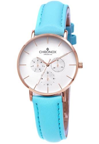 CHRONOX blue CHRONOX CX1006/B10 Putih Rosegold - Jam Tangan Wanita Casual -Tali Biru Tosca Rosegold- Genuine Leather Strap FDB5CAC4F64101GS_1