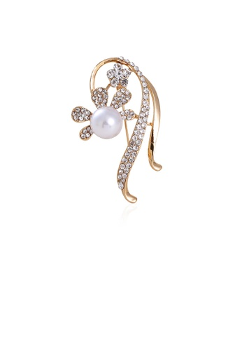 Glamorousky white Elegant Temperament Plated Gold Flower Imitation Pearl Brooch with Cubic Zirconia D8357AC685E437GS_1