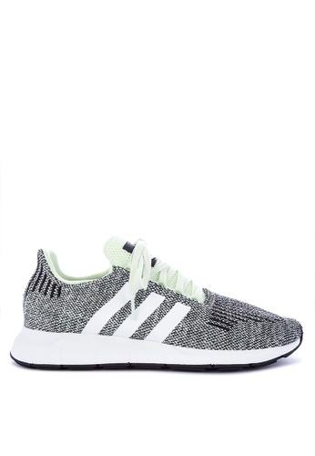 Adidas black and white and green adidas originals swift run AD678SH0KSWEPH_1