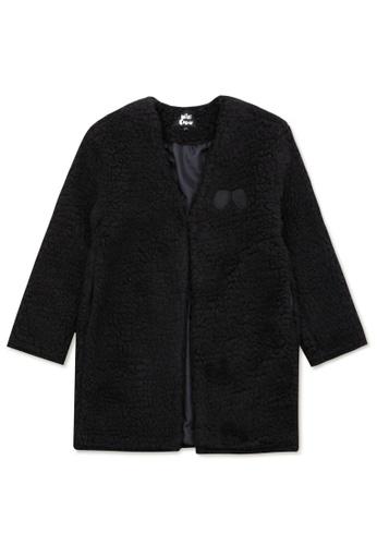 Mini cream black Logo embroidered fleece jacket F4AE7AAE6040B9GS_1
