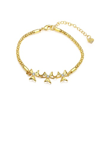 Glamorousky white Simple Fashion Plated Gold Flower Cubic Zircon Bracelet E380DACE569C6AGS_1