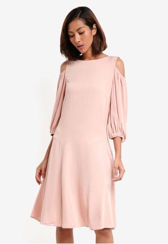 CLOSET beige Cold Shoulder Panelled Dress A3D68AAA5692ADGS_1