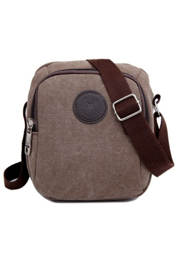 Jackbox brown Classic Design Canvas Shoulder Messenger Sling Bag 332 (Brown) JA762AC38TAFMY_1