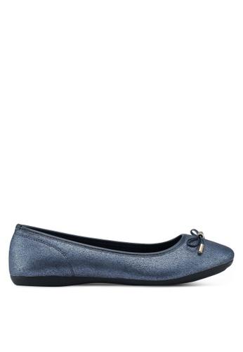 Bata 海軍藍色 金屬感蝴蝶結平底鞋 8C1F1SH6C372EBGS_1