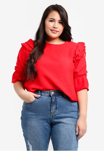LOST INK PLUS red Plus Size Pleated Trim Sleeve Top 99C39AAA7076A7GS_1