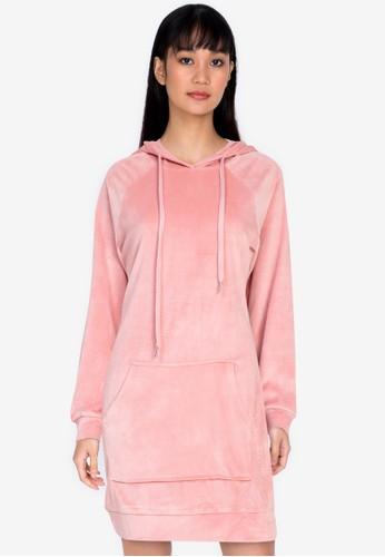 ZALORA BASICS pink Lounge Velour Hoodie Dress AF9C3AAC93BA76GS_1