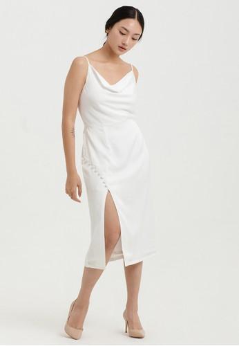 Cloth Inc white Button Drapery Slit Dress in White B660FAA5FFD7D5GS_1