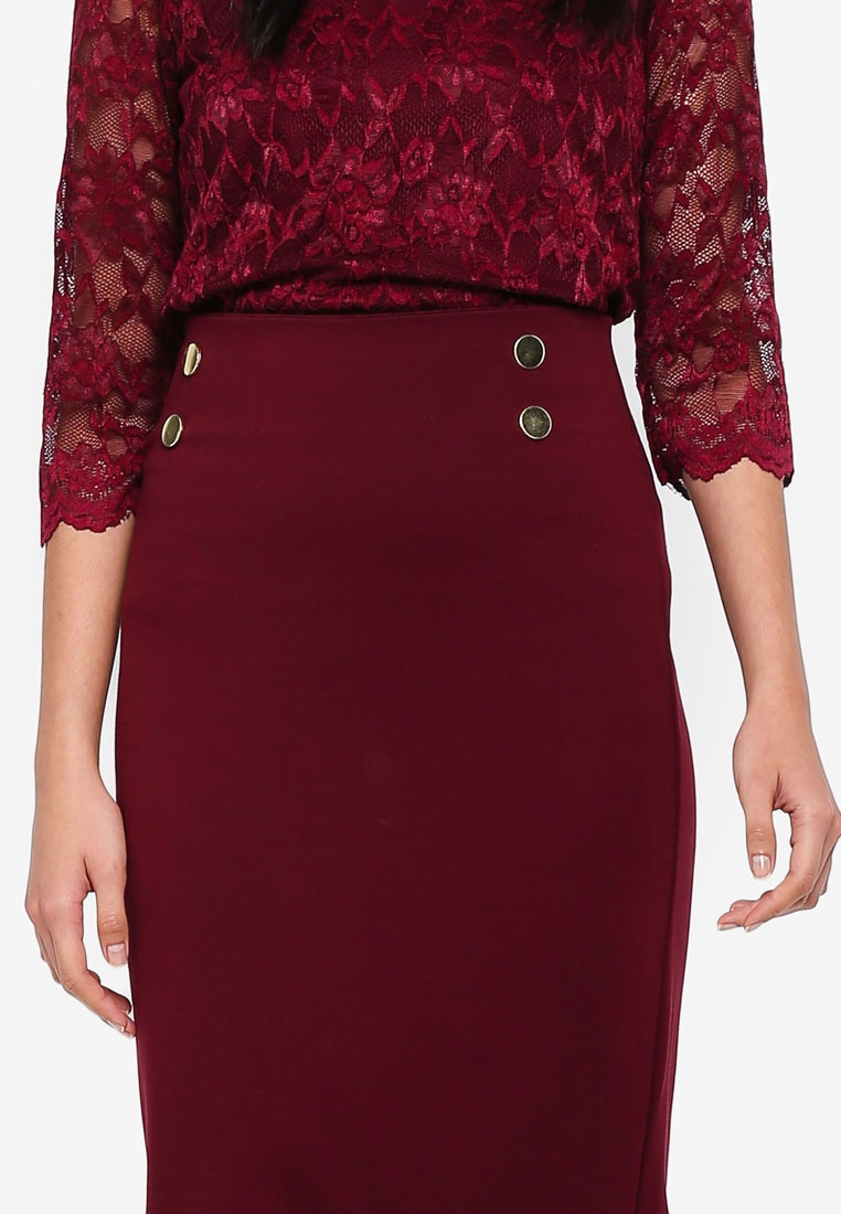 Dorothy Wine Pencil Button Red Skirt Perkins nUPqgBw