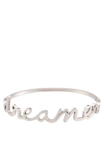 Dreamer 立體文字金屬手zalora 折扣碼鐲, 飾品配件, 飾品配件