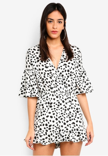 MISSGUIDED white Leopard Print Ruffle Playsuit 7F9D7AA0D915ABGS_1