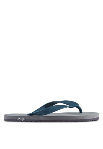 JAXON grey and navy Printed Flip Flops 84F50SHF047EBEGS_1