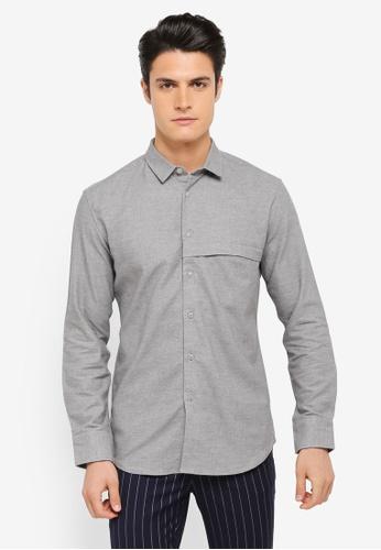 ZALORA grey Brushed Cotton Hidden Pocket Long Sleeve Shirt 5EE12AAA52141CGS_1