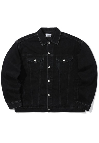 izzue black Embossed denim jacket A9455AA6DFA6EFGS_1