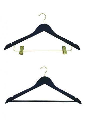 JVD JVD Lifestyle  Continental Grey Wooden Hangers (10 pcs: 05pcs x anti-slip rod & 05pcs x clips) DD0C7HL589FD56GS_1