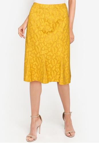 ZALORA OCCASION yellow Fluted Hem Lace Skirt C7A52AA1DF4810GS_1