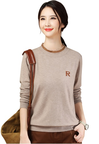 A-IN GIRLS beige Simple Lace Stitching Round Neck Sweater 4AF02AACF38718GS_1