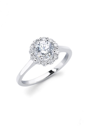 Elfi silver Elfi 990 Genuine Silver 0.5ct Engagement Ring T15. The Flower of Love EL186AC60DFNMY_1
