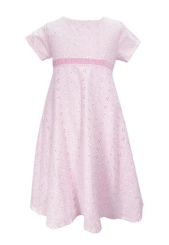 MINI PINK pink Mini Pink Girls Cotton Pink Print Short Sleeves Dress 88D7AKA1221C77GS_1