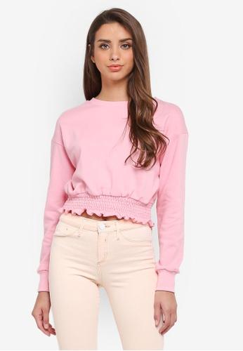 River Island pink Shirred Hem Sweatshirt 1B887AAE6E31F8GS_1