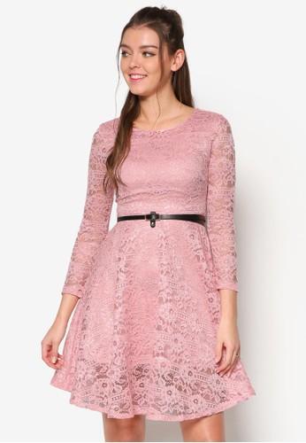 蕾絲長袖腰帶洋裝, 服飾, esprit hk洋裝