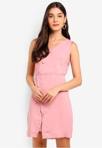 ZALORA 粉紅色 無袖交叉V領洋裝 B6883AA00E2D88GS_1