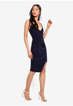 2358ca59ffd1 MISSGUIDED Strappy Slinky Wrap Bodycon Dress S  42.90. Sizes 8 10 12 14