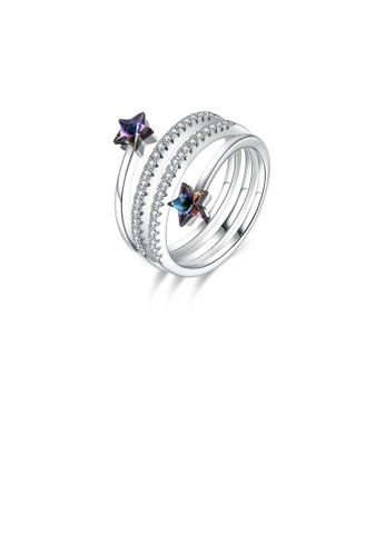 Glamorousky purple 925 Sterling Silver Fashion Simple Star Adjustable Ring with Purple Austrian Element Crystal E06ECACB0C6E97GS_1