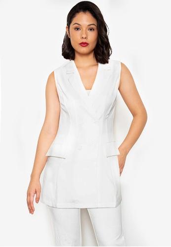 ZALORA WORK white Sleeveless Tuxedo Dress 55F0FAA6327A25GS_1