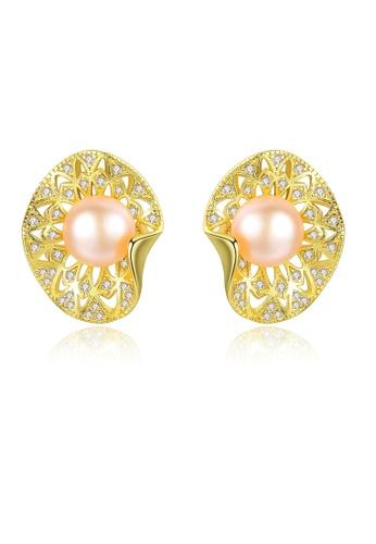 SUNRAIS gold Premium color stone gold simple design earrings A39DDAC511E984GS_1